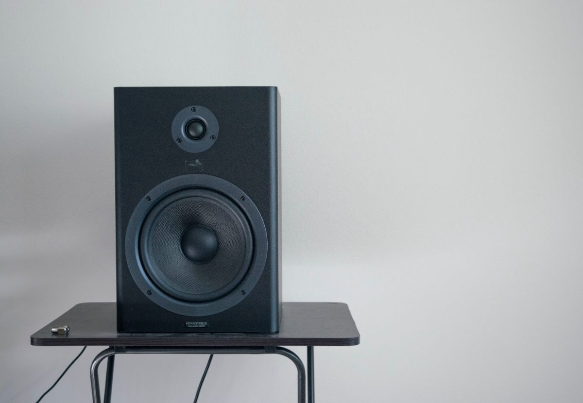 A Single Bookshelf Speaker on a Stand