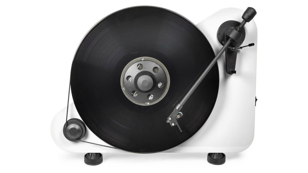Modern White Upright Turntable with Album