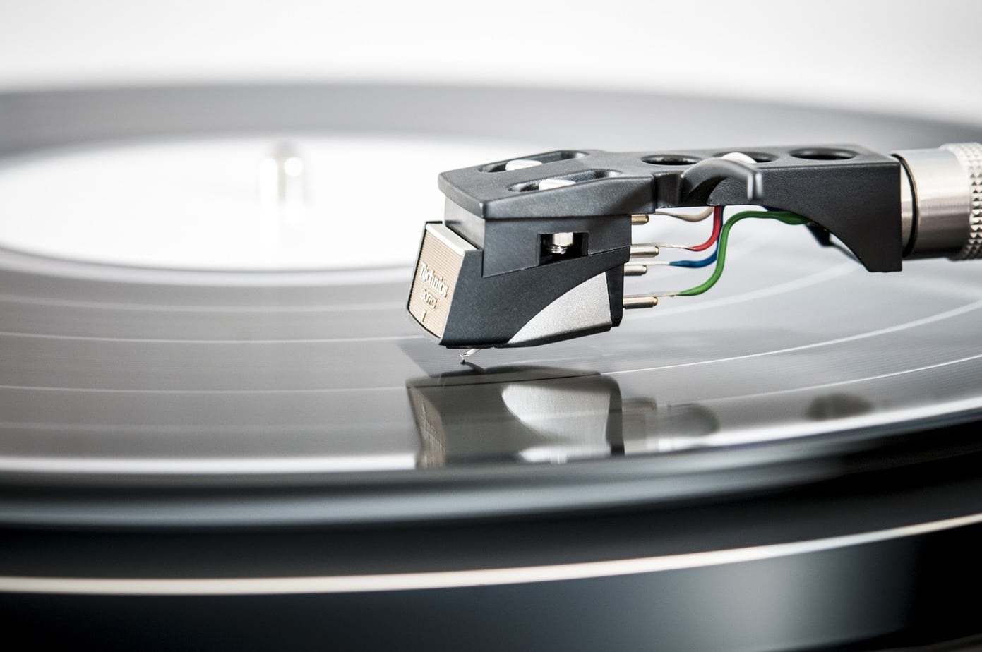 Technics Record Cartridge Close up With Playing A Vinyl Record
