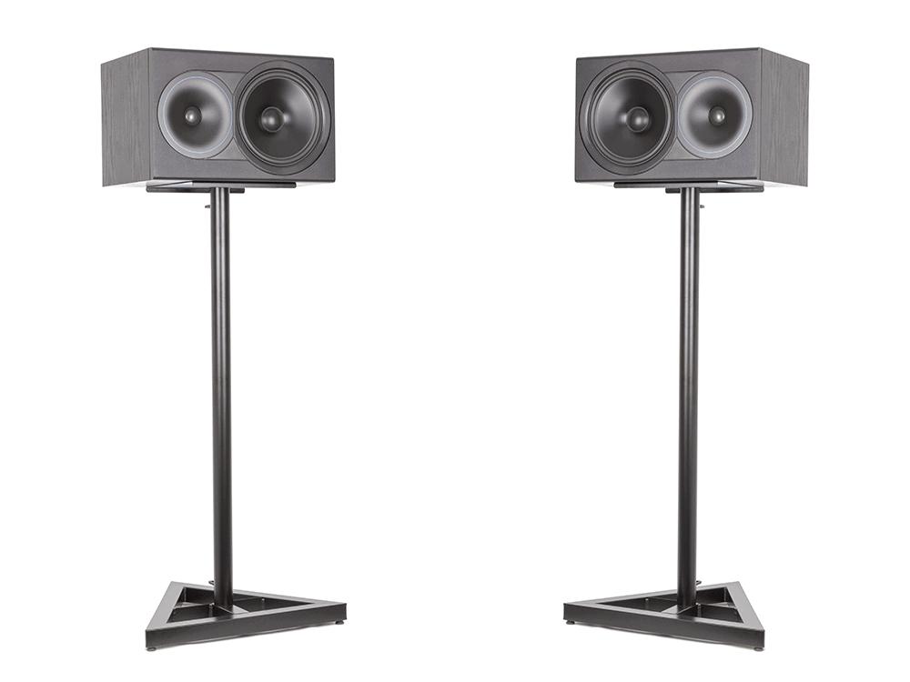 Black Speakers Sideways on Speaker Stands