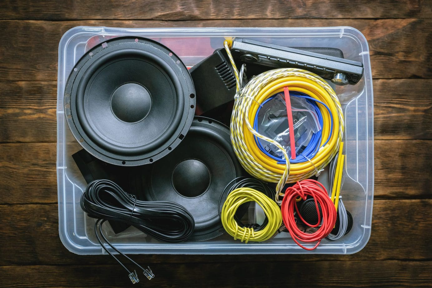 bin of car audio gear